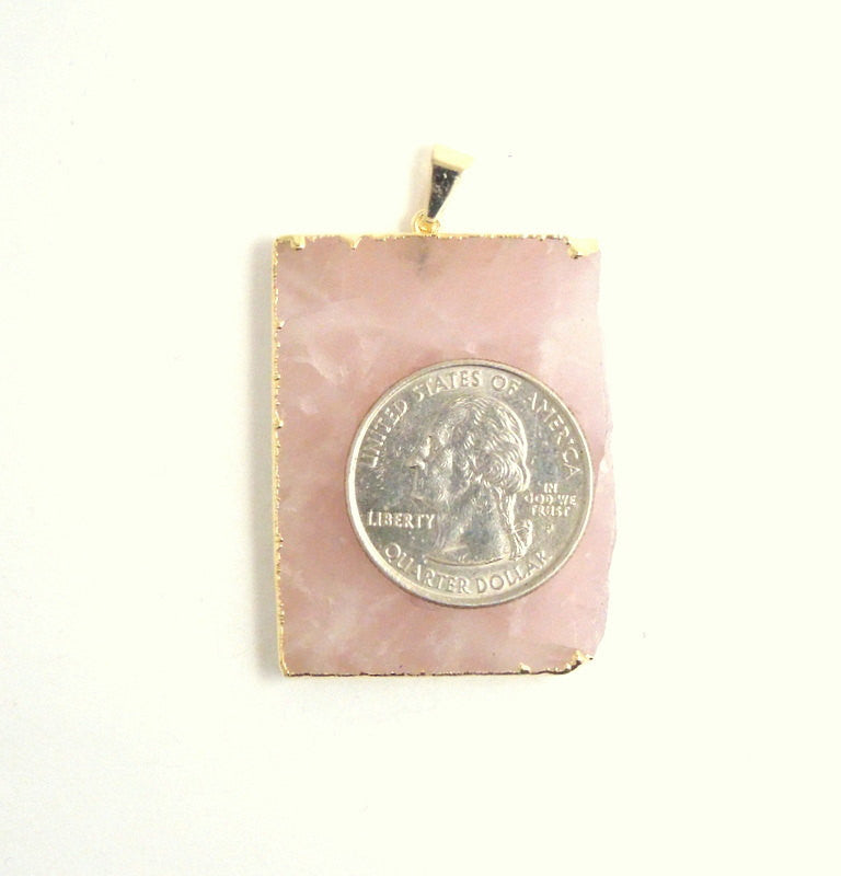 Rose Quartz Rectangle Pendant Charm with 24k Gold Electroplated Edge- (S37B14-03)