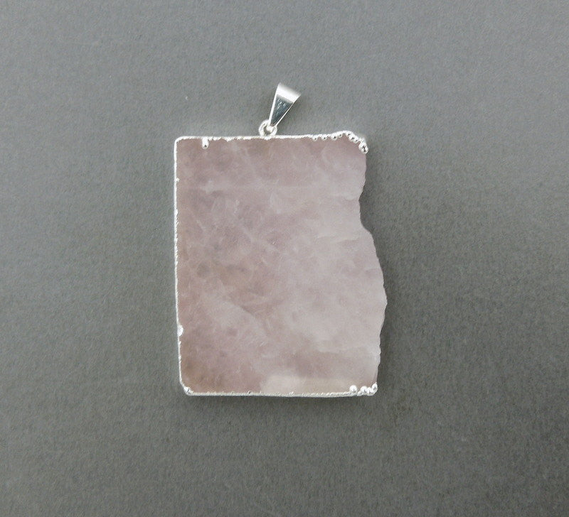 Rose Quartz Rectangle Pendant Charm with Silver Electroplated Edge (S37B14-02)