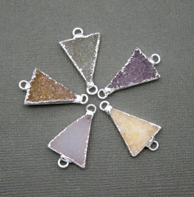 Druzy Triangle Double Bail Triangle Pendant Connector with Silver Electroplated Edge (S37B14-05)