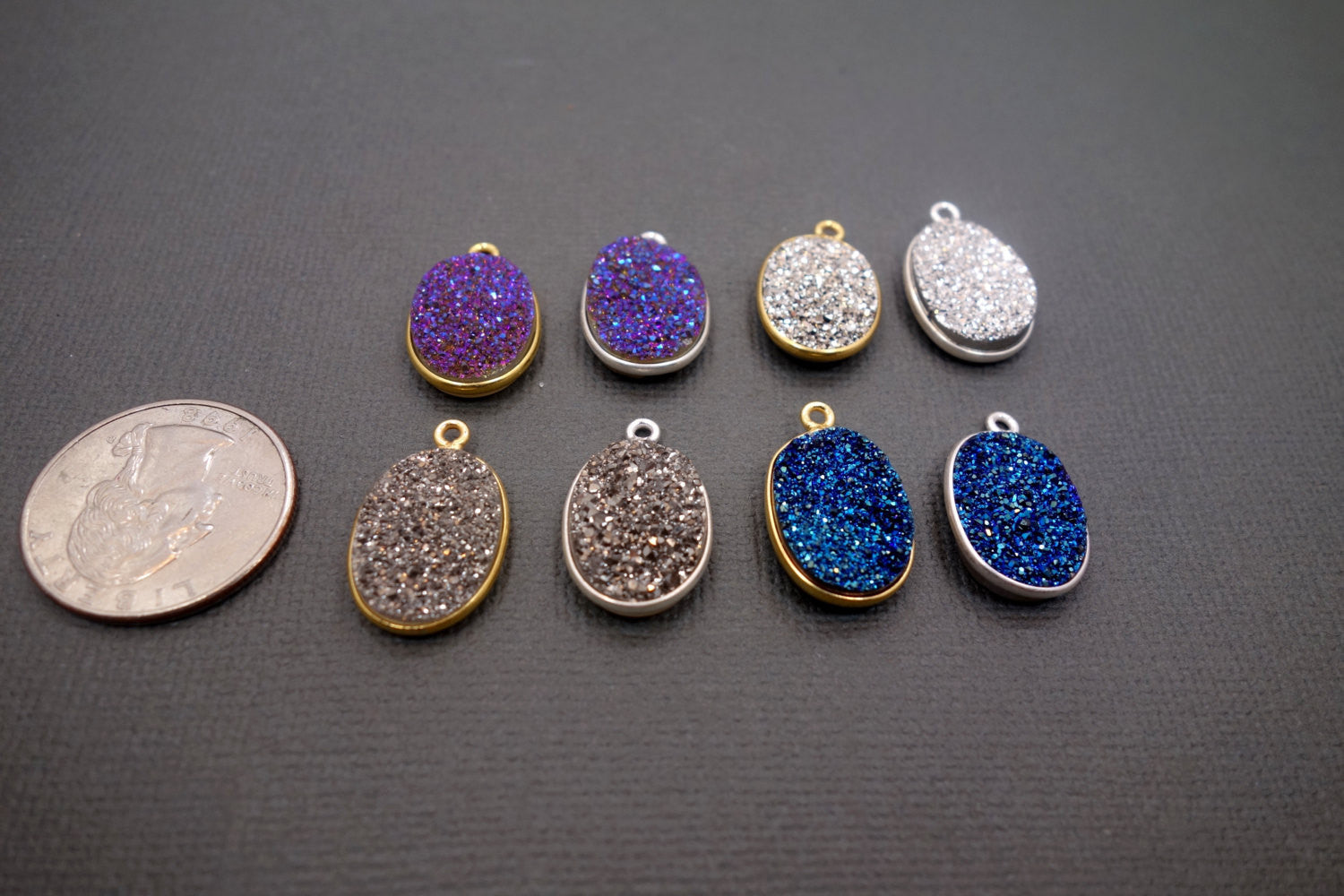 Connector Druzy Bezel Platinum Color Oval Large 13x18 mm silver plated Druzy Charm (S41b11-05)
