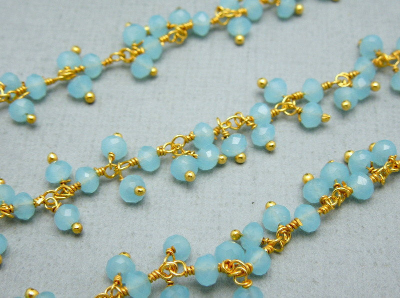 Aqua Blue Chalcedony Wire Wrapped Beaded Dangle Chain - Gold Wire Wrapped Dangling Bead Chain