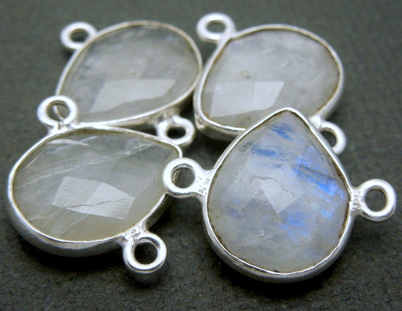 Moonstone Teardrop Station Double Bail Connector- 13mm x 9mm Sterling Silver Bezel Charm Pendant (S7B10-02)