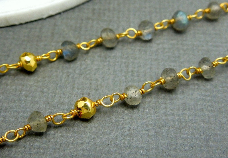Labradorite and Gold Pyrite Wire Wrapped Chain-- Gold over Sterling Silver or Plated Wire Wrap Rosary Style Chain (CHN-411)