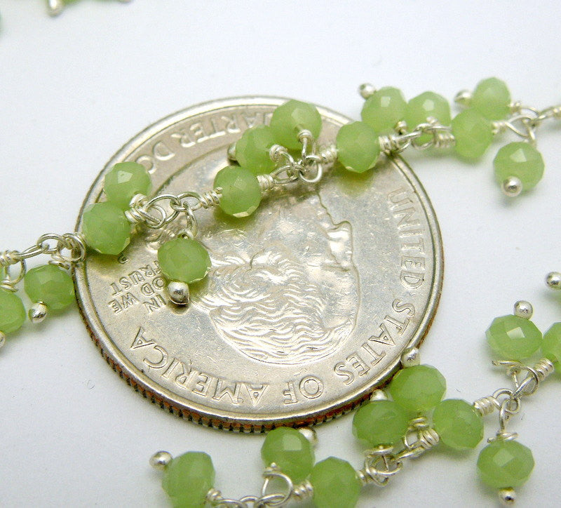 Sea Green Chalcedony Wire Wrapped Beaded Dangle Chain - Silver Wire Wrapped Dangling Bead Chain