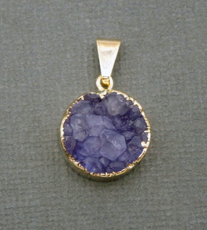 Round Purple Druzy Cluster Pendant with 24k Gold Electroplated Edges-- Round Pendant (S48b12-01)