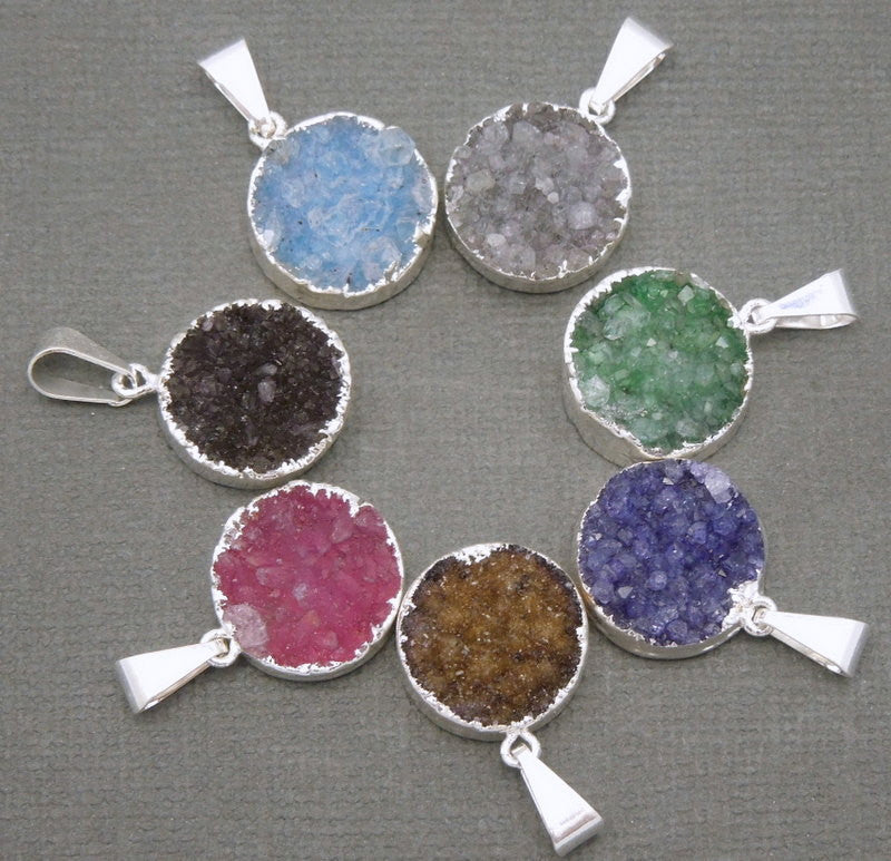 Round Brown Colored Druzy Cluster Pendant with Silver Electroplated Edges (S48b12-12)
