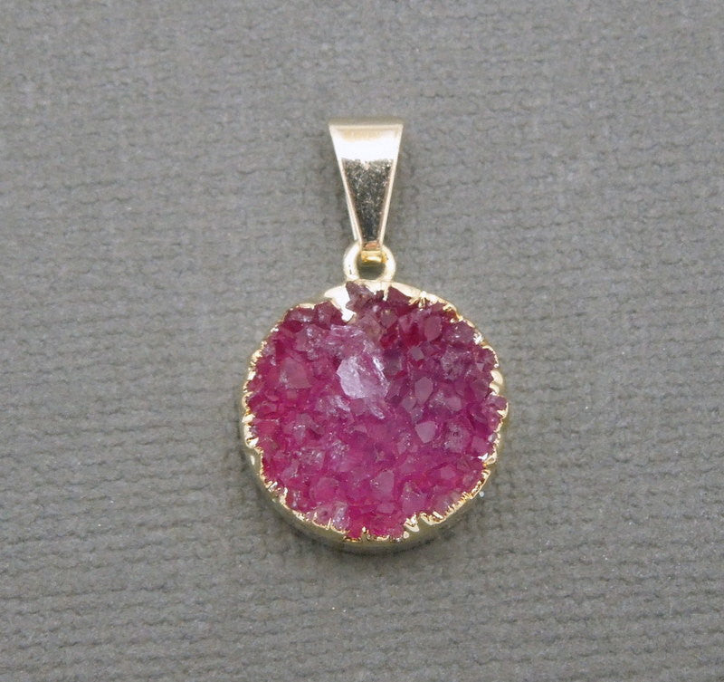 Druzy Cluster Pendant with 24k Gold Electroplated Edges - Round Pendant (S48b12-06)