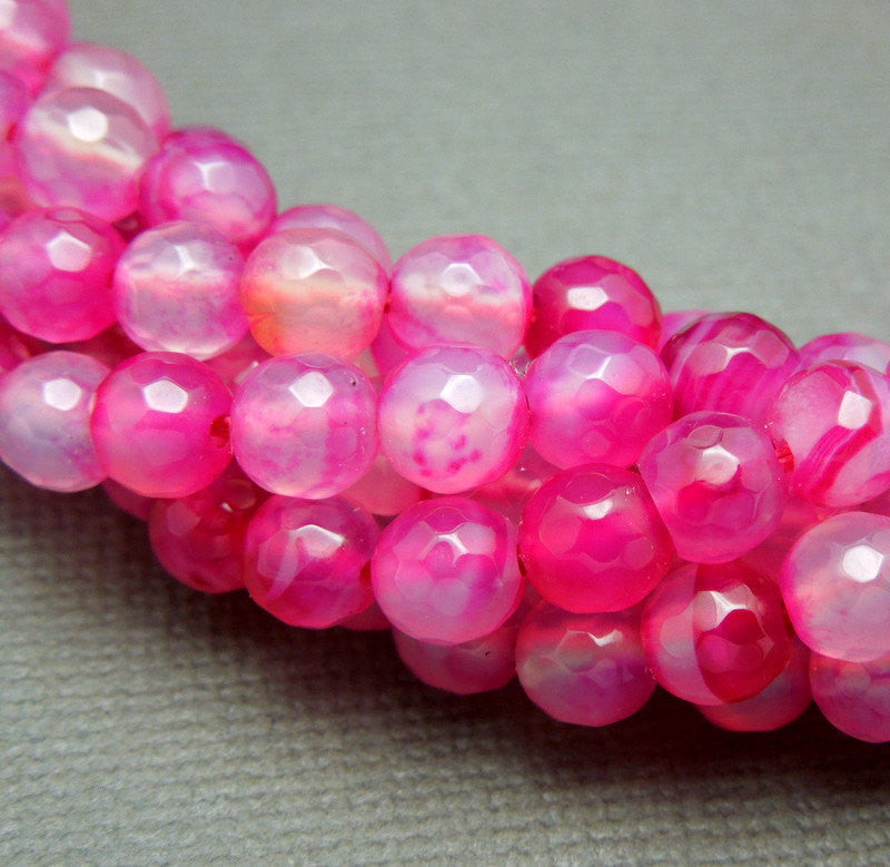 Round Hot Pink Dyed Agate 6mm Beads -- Drilled Beads -- 1 STRAND (S40B4-01)