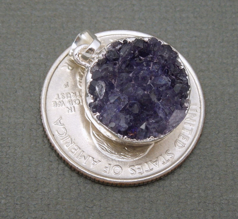 Round Purple Colored Druzy Cluster Pendant with Silver Electroplated Edges (S48b12-15)