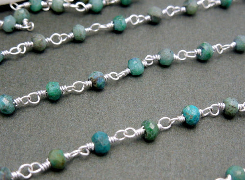 Chrysocolla Wire Wrapped Beaded Chain - Silver Plated Rosary Style Chain