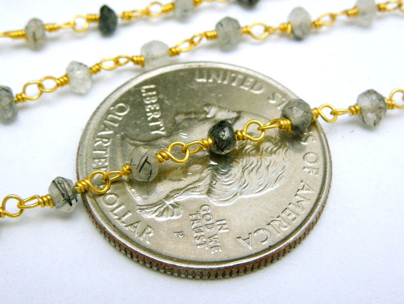 Rutilated Crystal Quartz Wire Wrapped Beaded Chain - Gold Plated Rosary Style Chain