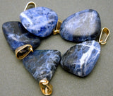 Natural Sodalite Pendant- Tumbled Sodalite Pendant with Gold Plated Bail (S23B14-08)