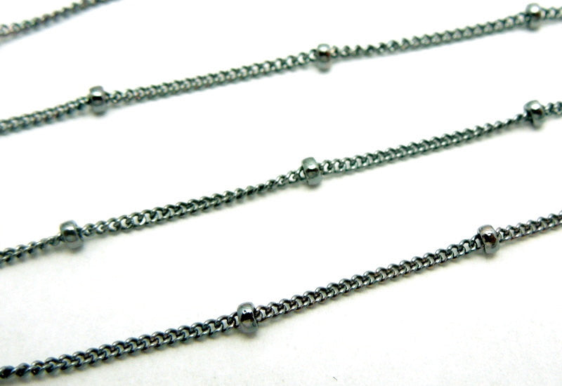 "Sterling Silver Satellite Chain- 30"" Oxidized Sterling Silver Satellite Finished Chain Necklace"