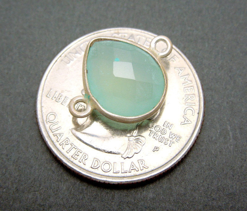 Aqua Blue Chalcedony Teardrop Station Double Bail Connector- 13mm x 9mm Sterling Silver Bezel Charm Pendant
