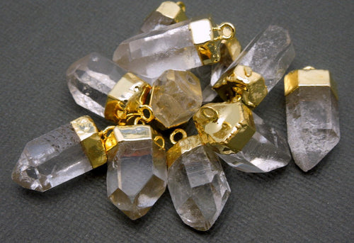 Petite Crystal Quartz Point Pendant-- Petite Crystal Quartz Charms Pendants with Electroplated 24k Gold caps (S35B8-06)