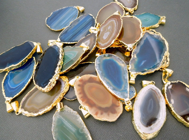 Assorted Agate Druzy Slices - Electroplated 24k Gold Edged Agate Slice Drusy Pendant - Drussy crystal Gold