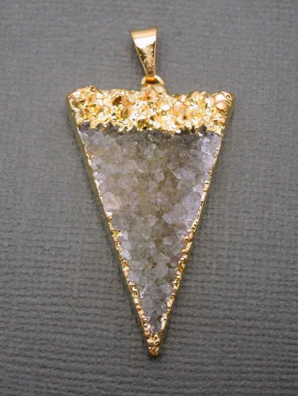 Druzy Triangle Pendant Charm with 24k Gold Electroplated Edge (S1B7-08)