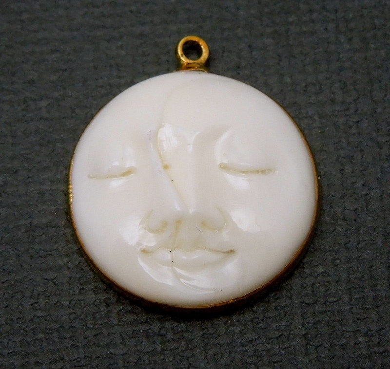 Bone Pendant - Round Man in the Moon Round with Electroplated 24k Gold Edges