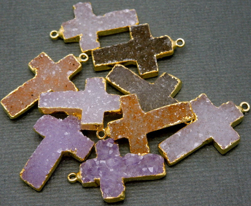 Colorful Druzy Cross Pendant witih Electroplated 24k Gold Edges (S6B16-12)