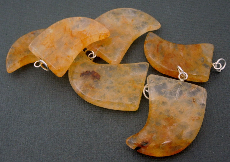 Golden Agate Pendant- Tumbled Golden Agate Horn Pendant with Silver Plated Bail