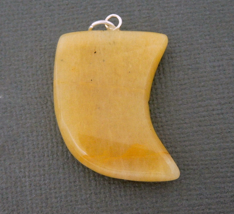 Yellow Aventurine Pendant- Tumbled Aventurine Horn Pendant with Silver Plated Bail