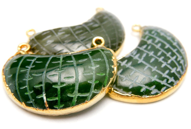 Jade Pendant-- Vintage Style Jade Pendant edged in 24k Gold Double Bail (S6b16-06)