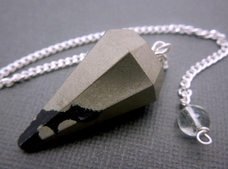 Pyrite Point Pendant-- Pyrite Point Pendulum Pendant with Silver Plated Bail and Chain