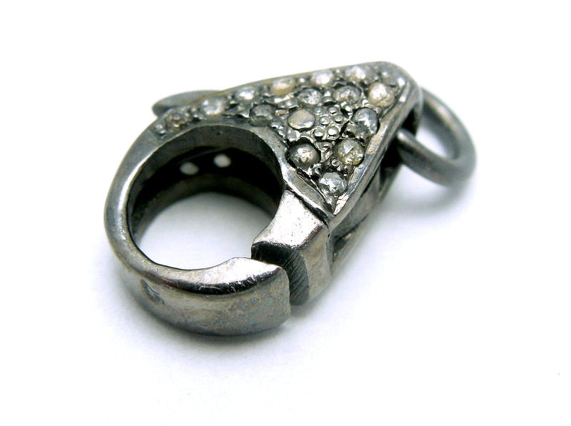 Pave Diamond and Oxidized Sterling Silver Lobster Clasp with Jump Ring-- 14mm x 9mm Pave DIAMOND Lobster Clasp