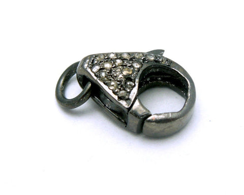 Pave Diamond Black Bone Crescent Double Bail Pendant set in a Oxidized Sterling Silver Caps and Band with Pave Diamonds