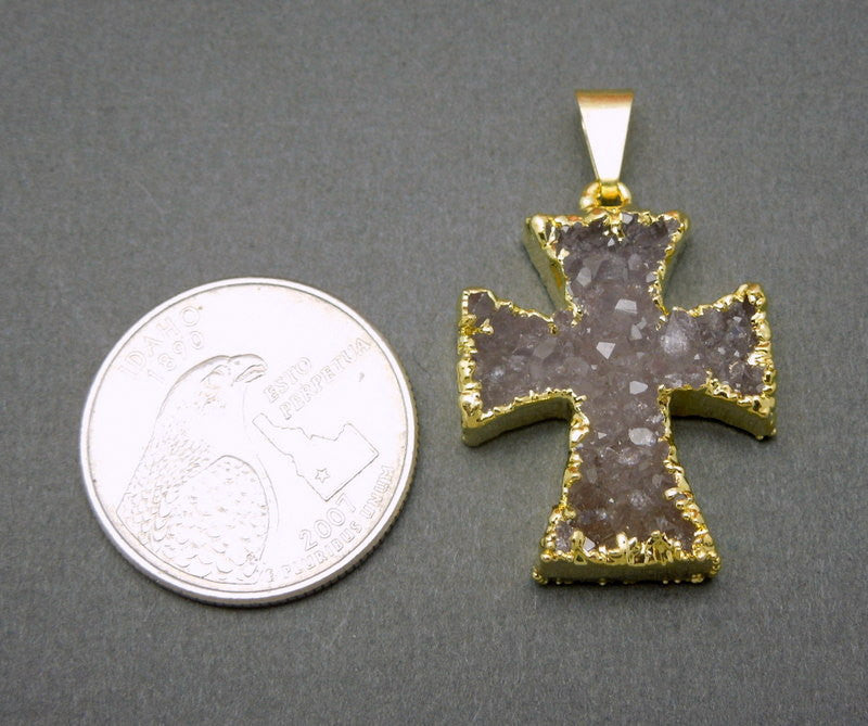 Gorgeous Druzy Cross Pendant witih Electroplated 24k Gold Edge -- Highest Of Quality (S51B1-02)