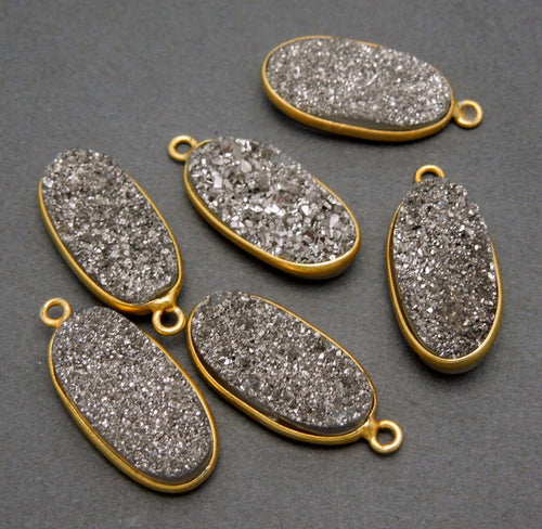 12% off Wholesale Druzy Bezel Oval Charm Pendant -- 8mm x 18mm Black Dimaond Druzy in a Gold Plated Oval Shaped Bezel (S50B15-02)