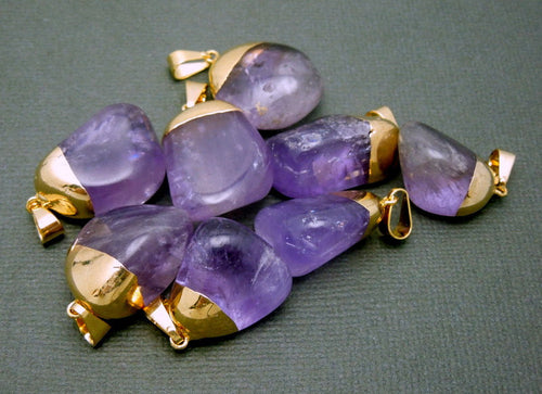 Natural Amethyst Quartz Pendant- Tumbled Amethyst Pendant with Electroplated 24k Gold Cap and Bail (S24B15-11)