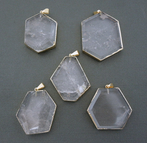 Amazing Crystal Quartz Hexagon Pendant 24k Gold Electroplated Edge and Bails