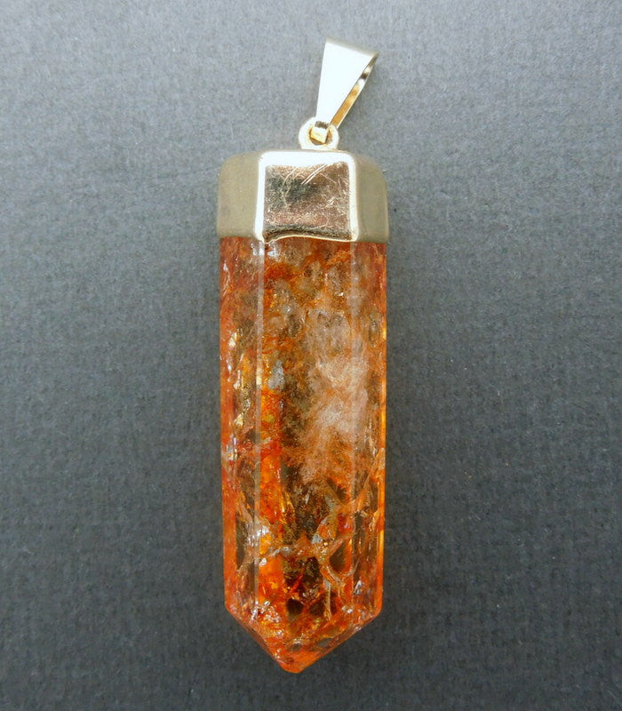 Orange Crystal Quartz Point Pendant Crackle with 24k Gold Electroplated Cap CPT