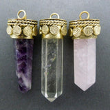 Amazing Tibetan Crystal Quartz Point Pendant Brass Cap and Bail - Tibetan Pendant (S57B16b)
