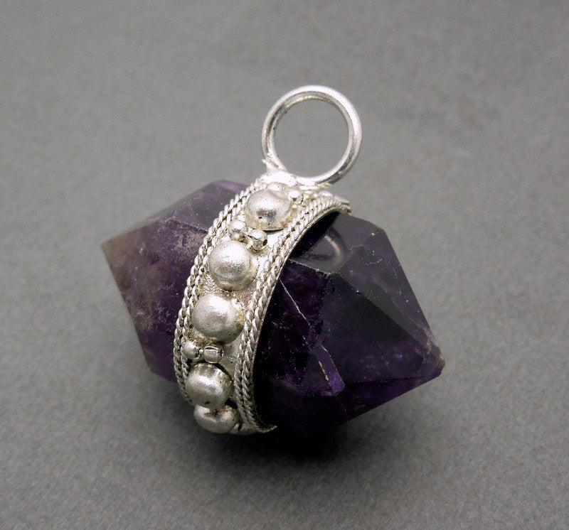 Amethyst Quartz Nugget Pendant  --  Tibetan Double Terminated Nugget with Dotted Silver Toned Brass Edge and Bail