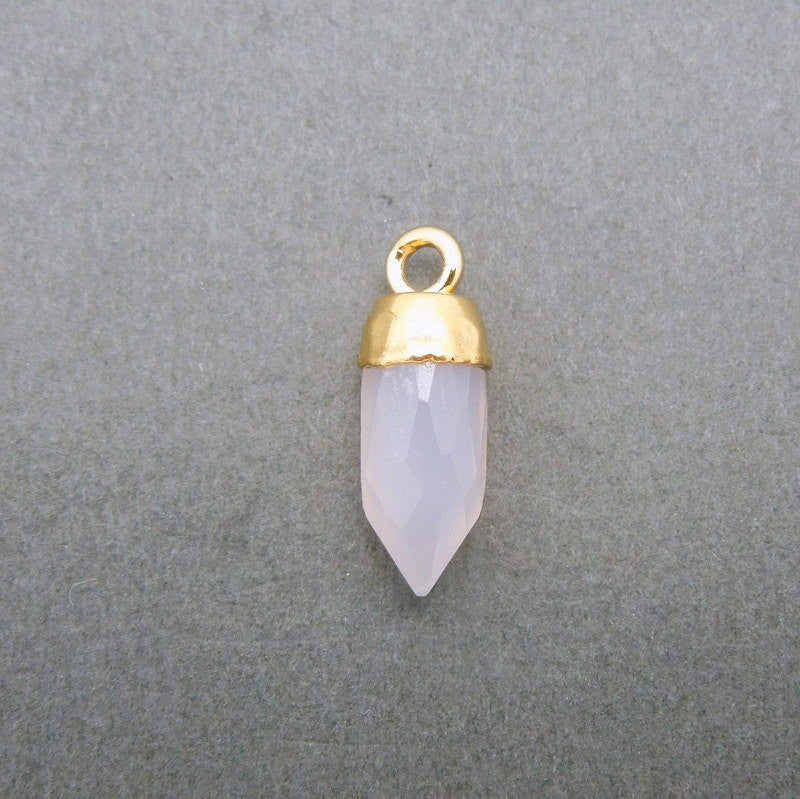 Tiny Rose Quartz Spike Pendant Charm with Electroplated 24k Gold Cap and Bail (S20B16-11)