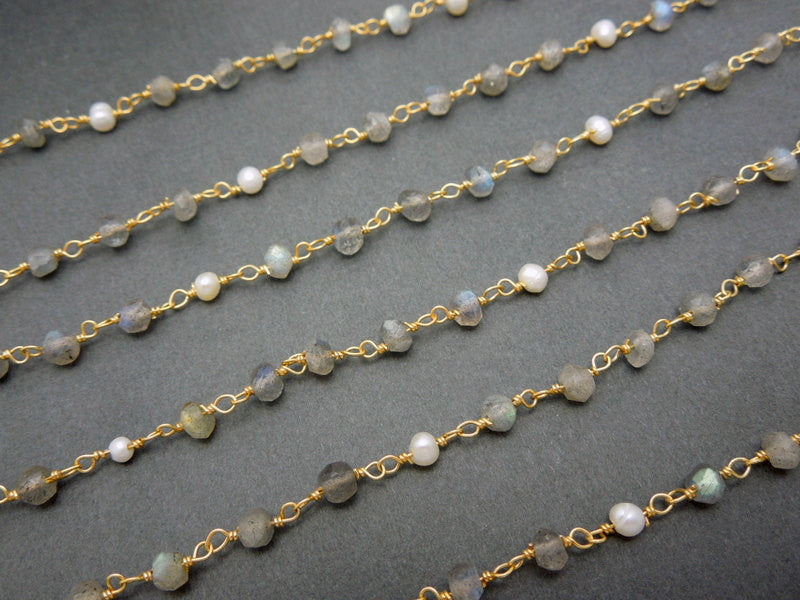 Labradorite with Pearl Gold Over Sterling Wire Wrapped Chain or Plated