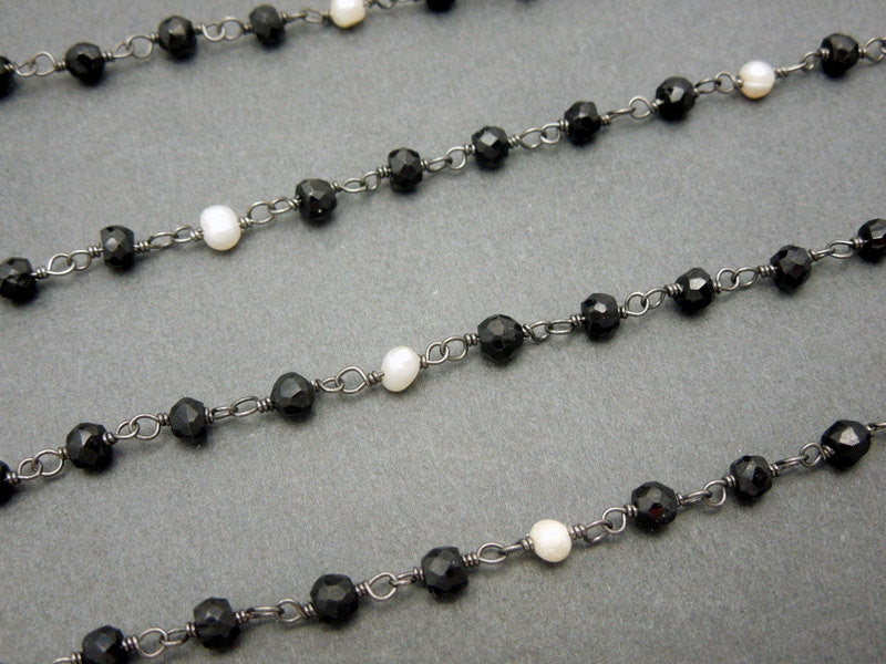 Black Spinel with Pearl Sterling Silver  Wire Wrapped Chain or Plated