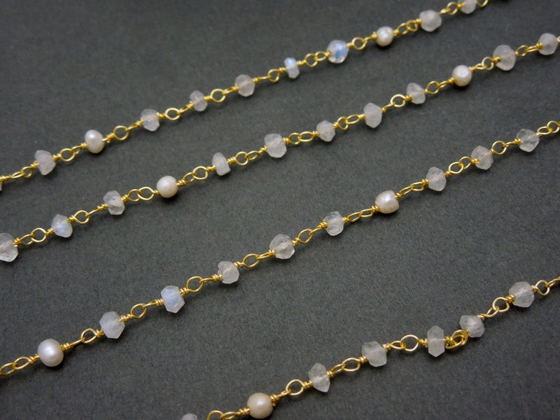 Moonstone with Pearl Gold Over Sterling Wire Wrapped Chain or Plated