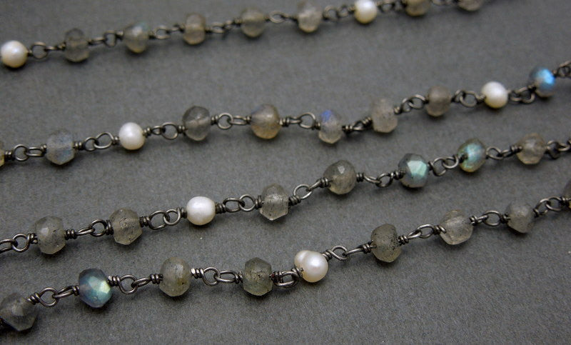 Labradorite with Pearl Sterling Silver Wire Wrapped Chain or Plated -- ONE FOOT (CHN-446)