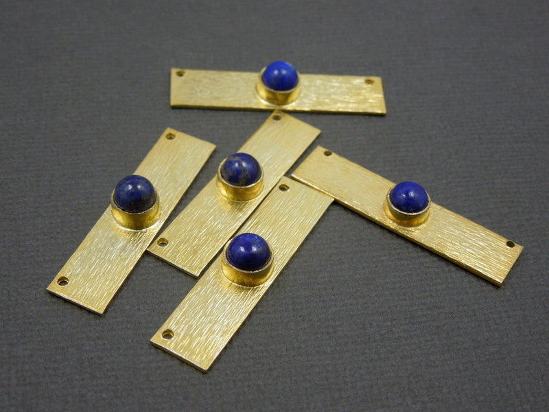 Lapis Lazuli Gemstone Bar -- Gold Over Sterling Bar Mouse Ear Connector  Gemstone Bezel Accent (S74B1-11)