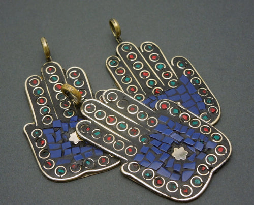 Lapis Lazuli Mosaic Hamsa Hands Pendant Brass with  Brass Bail