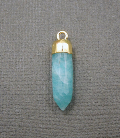 Amazonite Spike Pendant Charm with 24k Gold Electroplated cap