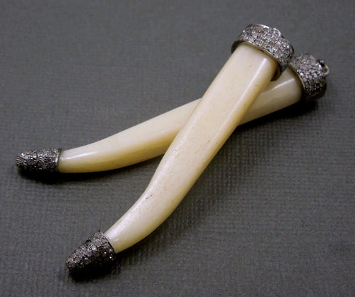 Gorgeous Pave Diamond Thin Carved Bone Horn Pendant with an Oxidized Sterling Silver Pave Diamond Cap and Tip