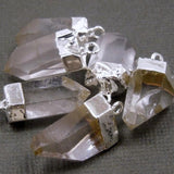 Crystal Quartz Point Pendant-- Petite Crystal Quartz Charms Pendants with Silver Electroplated caps