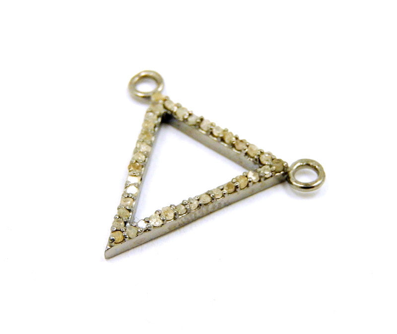 Diamond Triangle Pendant Sterling Silver Triangle with Pave Diamond Double Bail Charm Pendant Connector
