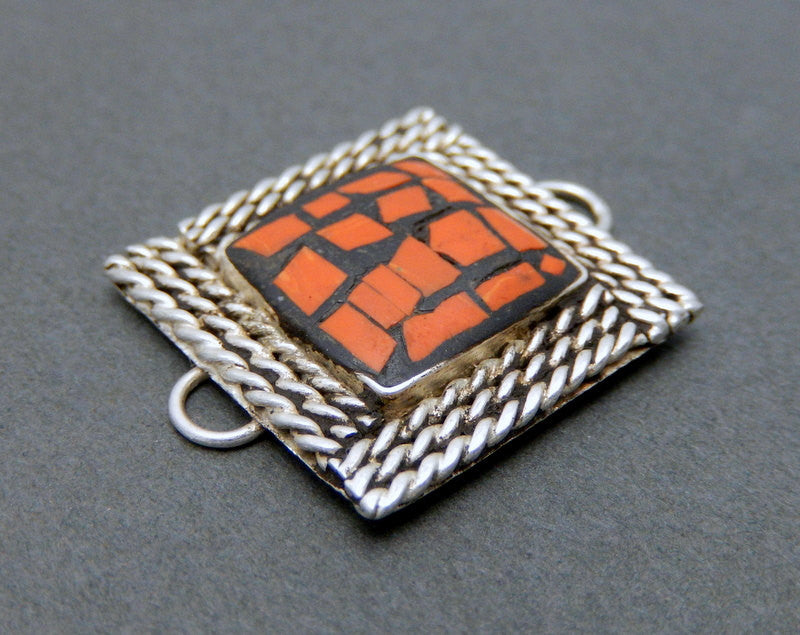 Square Red Coral Color Mosaic Double Bail Pendant Connector with Silver-toned Brass