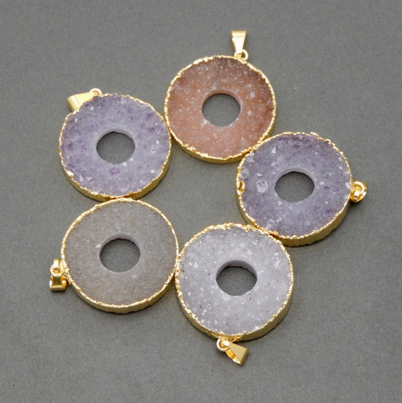 Round Druzy Pendant with Open Round Center Edged in Electroplated 24k gold  (S1B8-05)