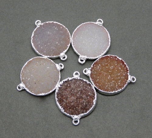SALE Round Druzy Coin Double Bail Pendant Connector 23mm Edged in Electroplated Silver  (S1B8-06)